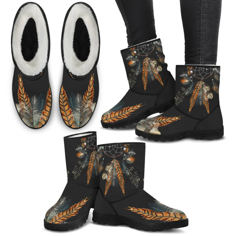 Image of Black Faux Fur Feather Dreamcatcher Boots