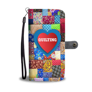 Love Quilting Colorful Quilt Phone Wallet