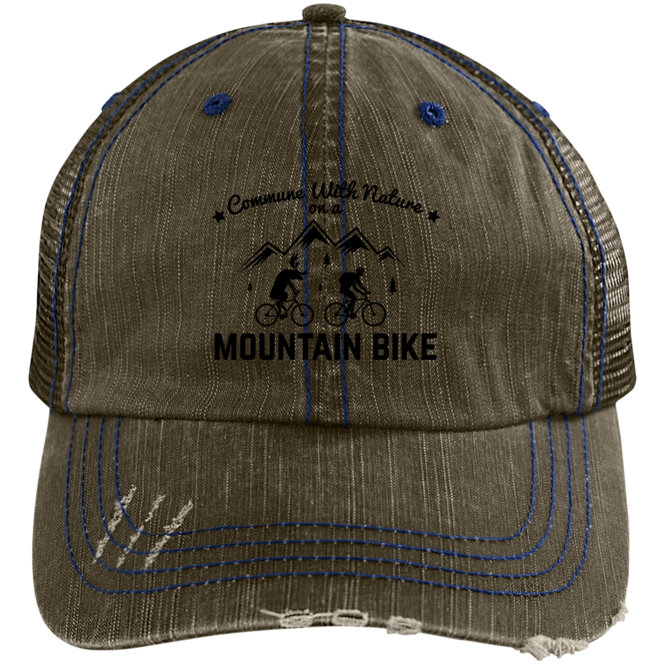Distressed Commune with Nature Mountain Biking Cap - 7 colors