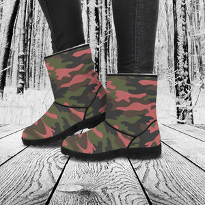 Faux Fur Camouflage Boots