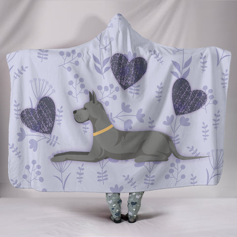 Image of I Love Great Danes Hooded Blanket for Lovers of Great Dane Dogs