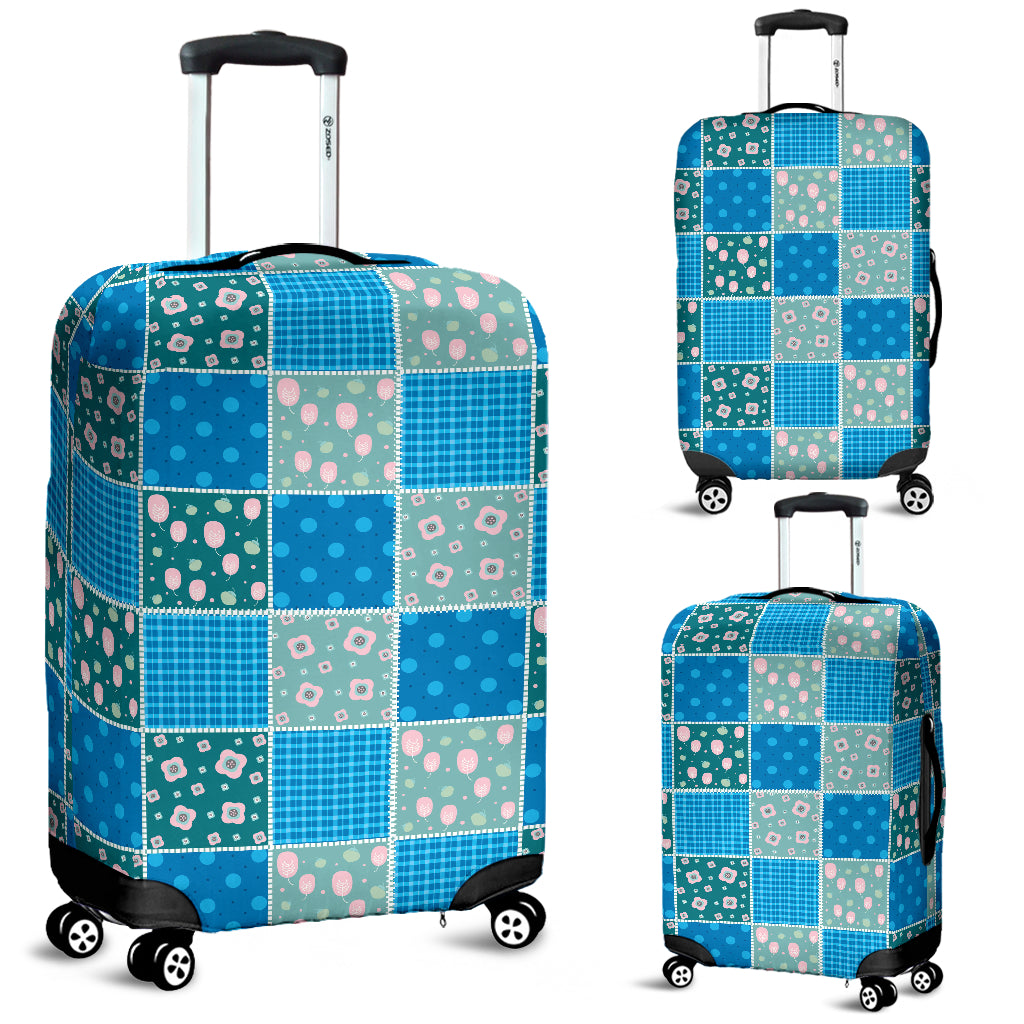Blue-Green Quilt Luggage Cover