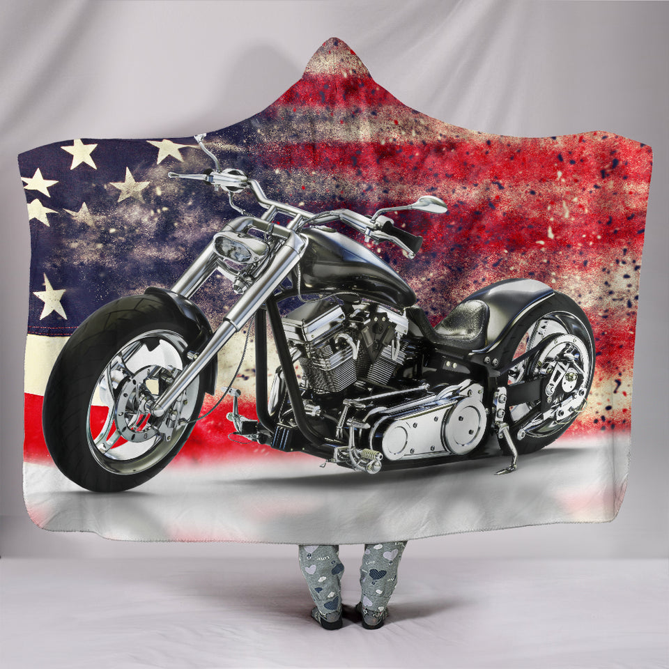 Motorbike With American Flag Hooded Blanket