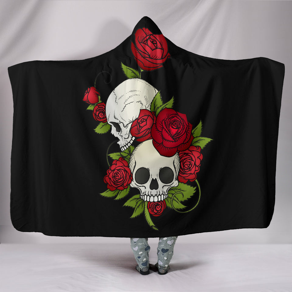 Skulls and Roses Hooded Blanket