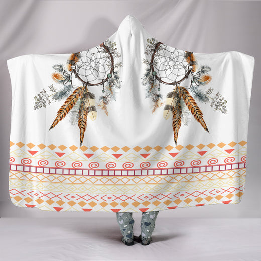 Tribal Dream Dreamcatcher Hoodie Blanket - White