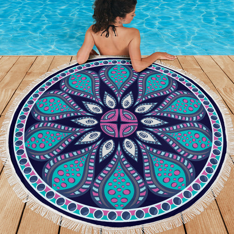 Navy Blue Mandala Beach-Picnic Blanket