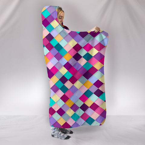 Image of Diamonds Pattern Quilt Hoodie Blanket