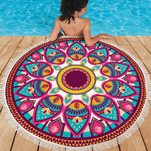 Image of Pink-Teal Mandala Beach-Picnic Blanket