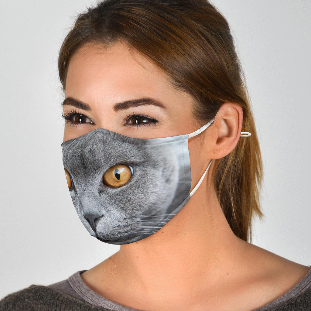 Gray Cat Face Mask