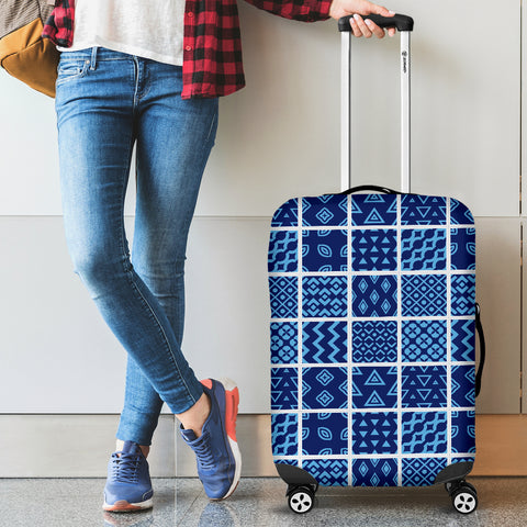 Image of Blue Quilt Luggage Cover
