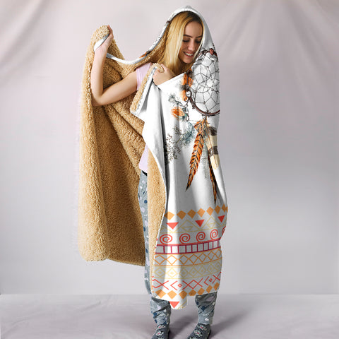 Image of Tribal Dream Dreamcatcher Hoodie Blanket - White