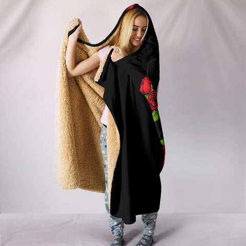 Image of Skulls and Roses Hooded Blanket