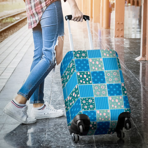 Image of Blue-Green Quilt Luggage Cover