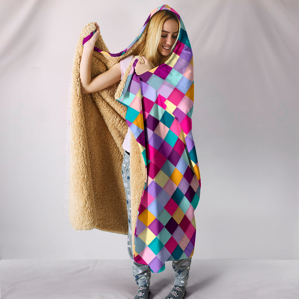 Diamonds Pattern Quilt Hoodie Blanket