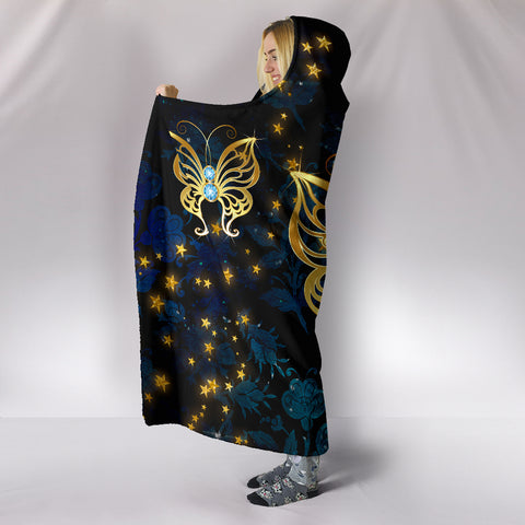 Image of Butterflies in Blue Damask Hooded Blanket