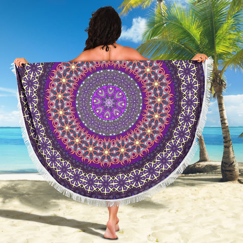 Image of Purple Rain Mandala Beach-Picnic Blanket