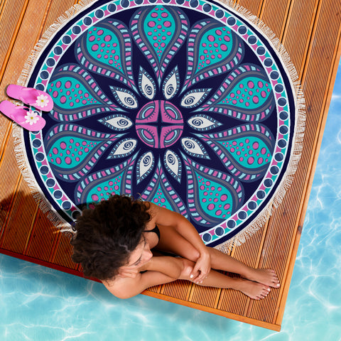 Image of Navy Blue Mandala Beach-Picnic Blanket