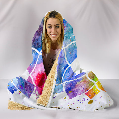 Image of Watercolour Om Hooded Blanket