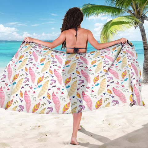 Watercolor Feathers and Arrows Sarong