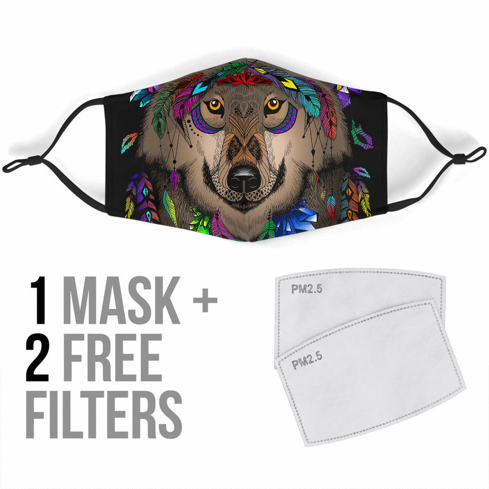 Magic Wolves Dreamcatcher Face Mask