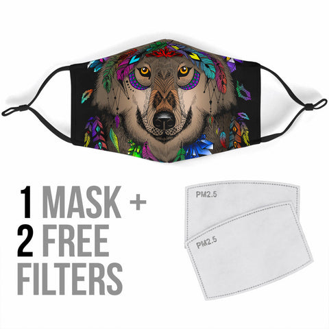 Image of Magic Wolves Dreamcatcher Face Mask