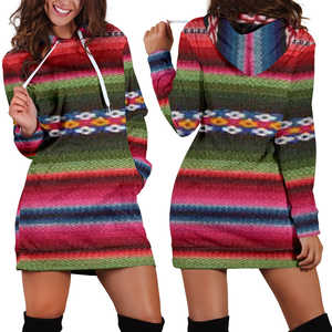 Women's Hoodie Dress - Aztec