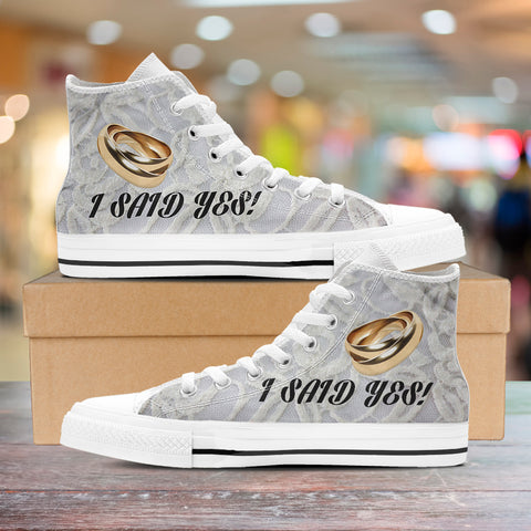"Image of ""I Said Yes"" Gold Bands Bachelorette Party High-Top Shoes"