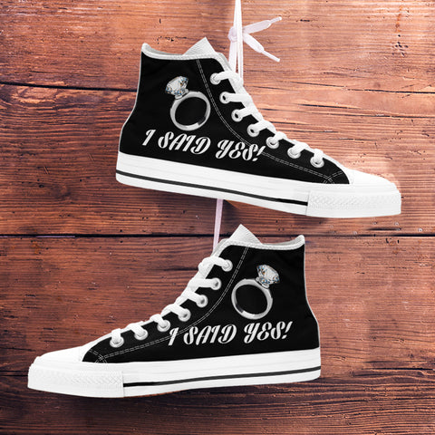 "Image of ""I Said Yes"" Bachelorette Party High-Top Shoes - Black"