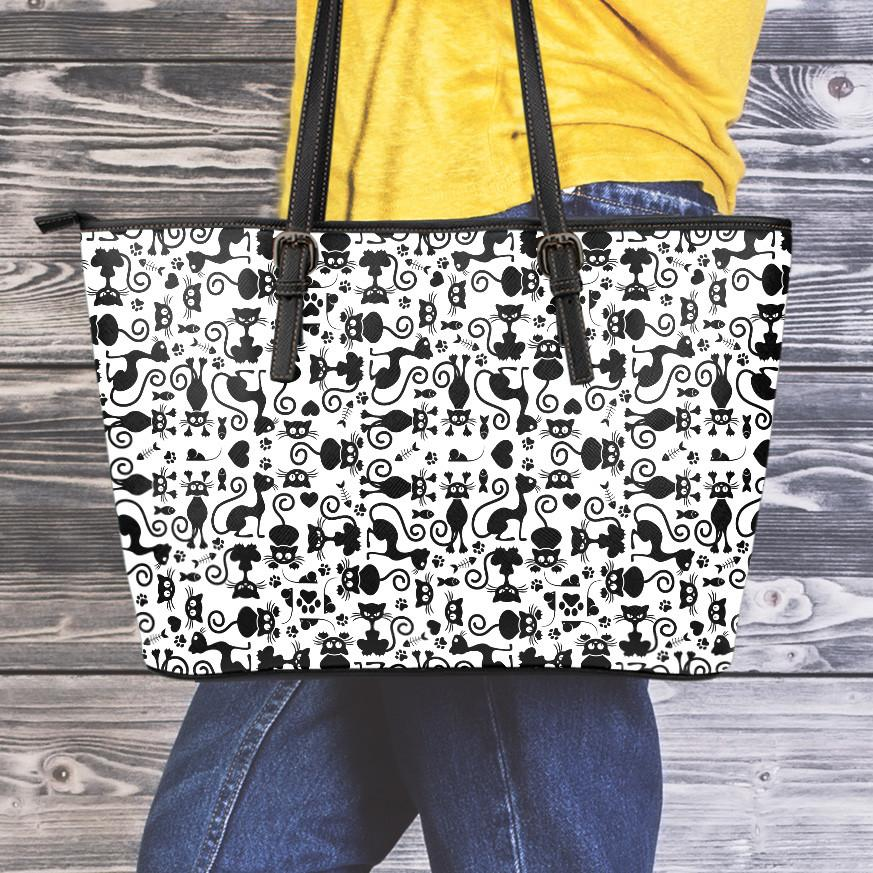 Cats White Large Leather Tote Bag