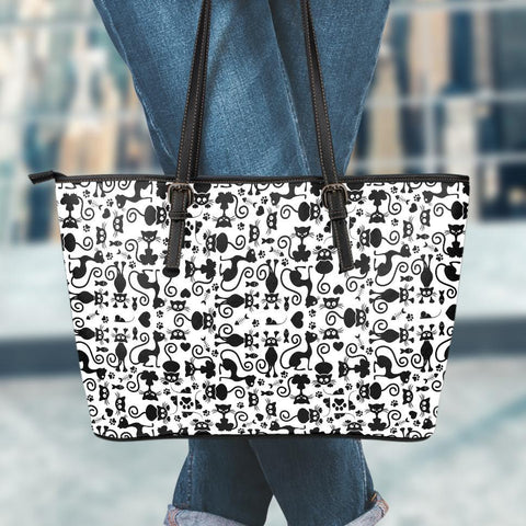 Image of Cats White Large Leather Tote Bag