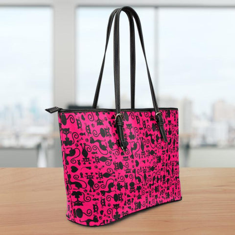 Image of Cats Pink Large Leather Tote Bag