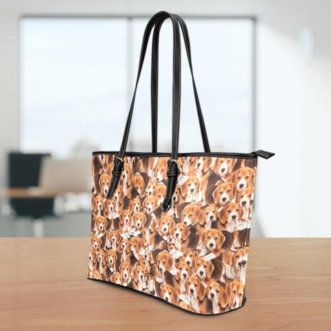 Image of Beagles Large Leather Tote