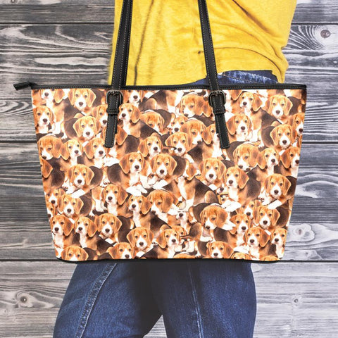 Image of Beagles Small Leather Tote Bag