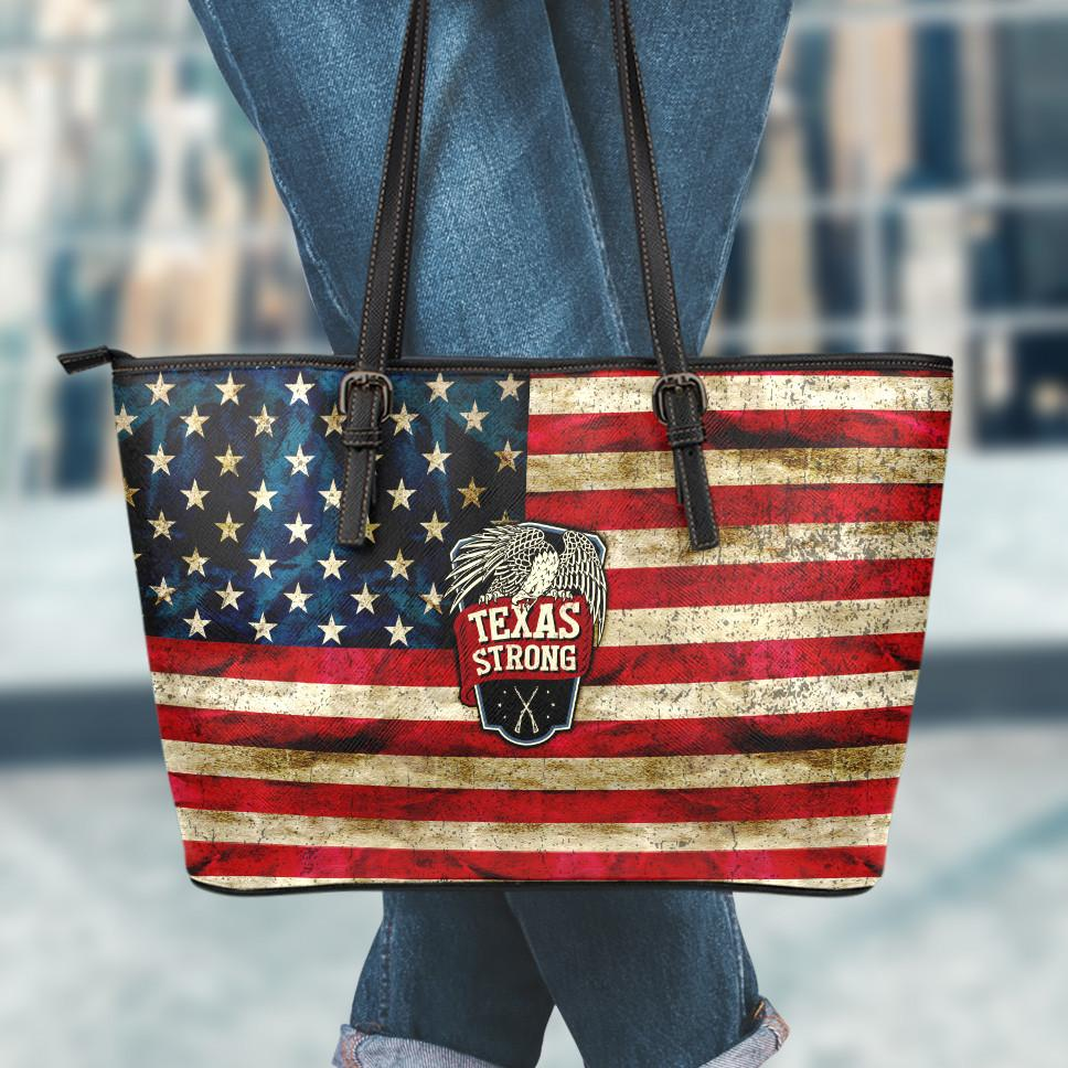 Texas Strong Small Leather Tote Bag