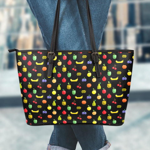 Image of Bitmap Fruit Small Leather Tote Bag
