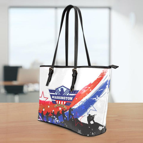 Image of WA Veteran Small Leather Tote Bag