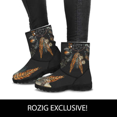 Black Faux Fur Feather Dreamcatcher Boots
