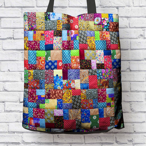 Image of Colorful Patch Quilt Tote Bag