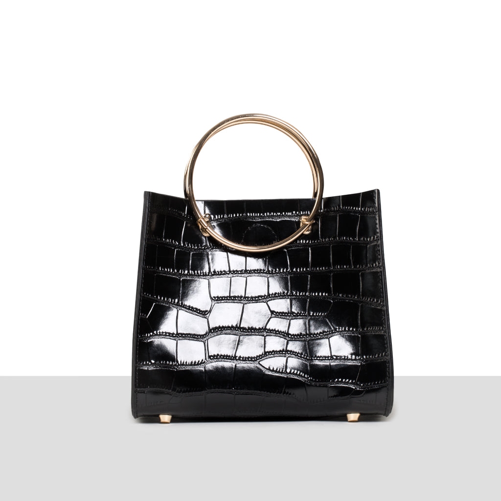 Lisbon Bag in Black Croc