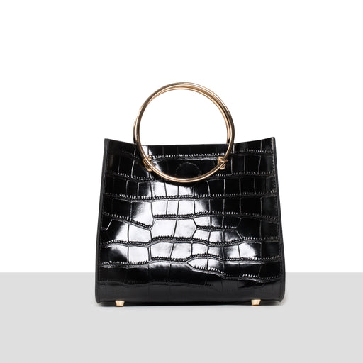 BLACK CROC RING BAG