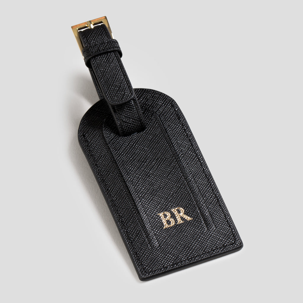 Black Saffiano Luggage Tag