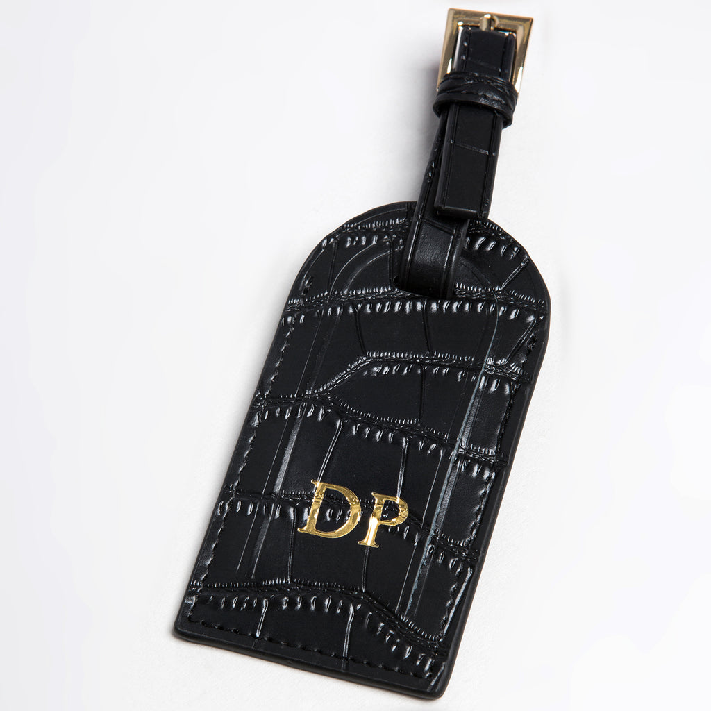 Black Croc Luggage Tag