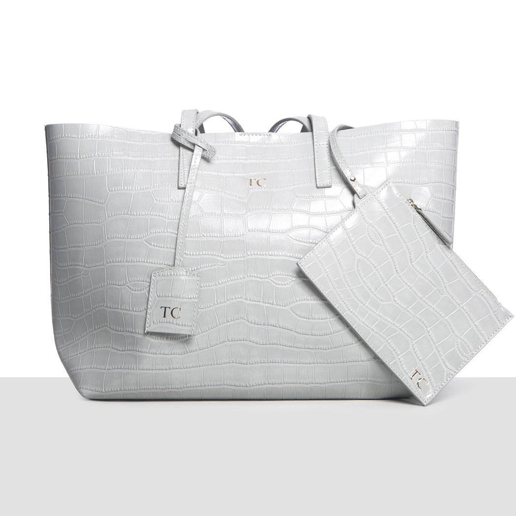 GREY CROC LARGE TOTE BAG