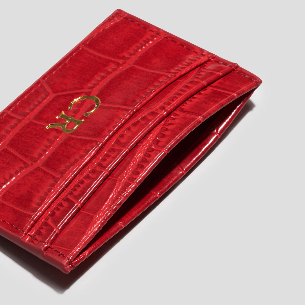 RED CROC DOUBLE CARDHOLDER