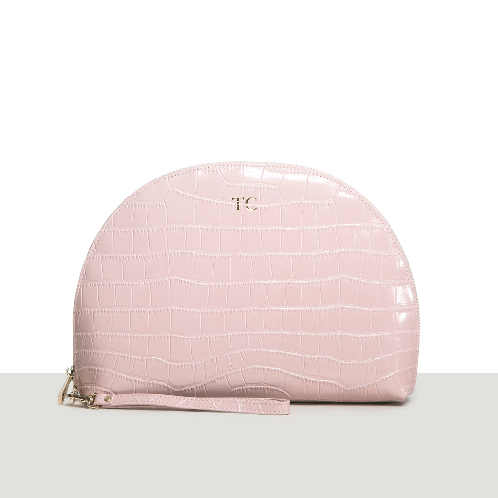 Nude Croc Moon Clutch