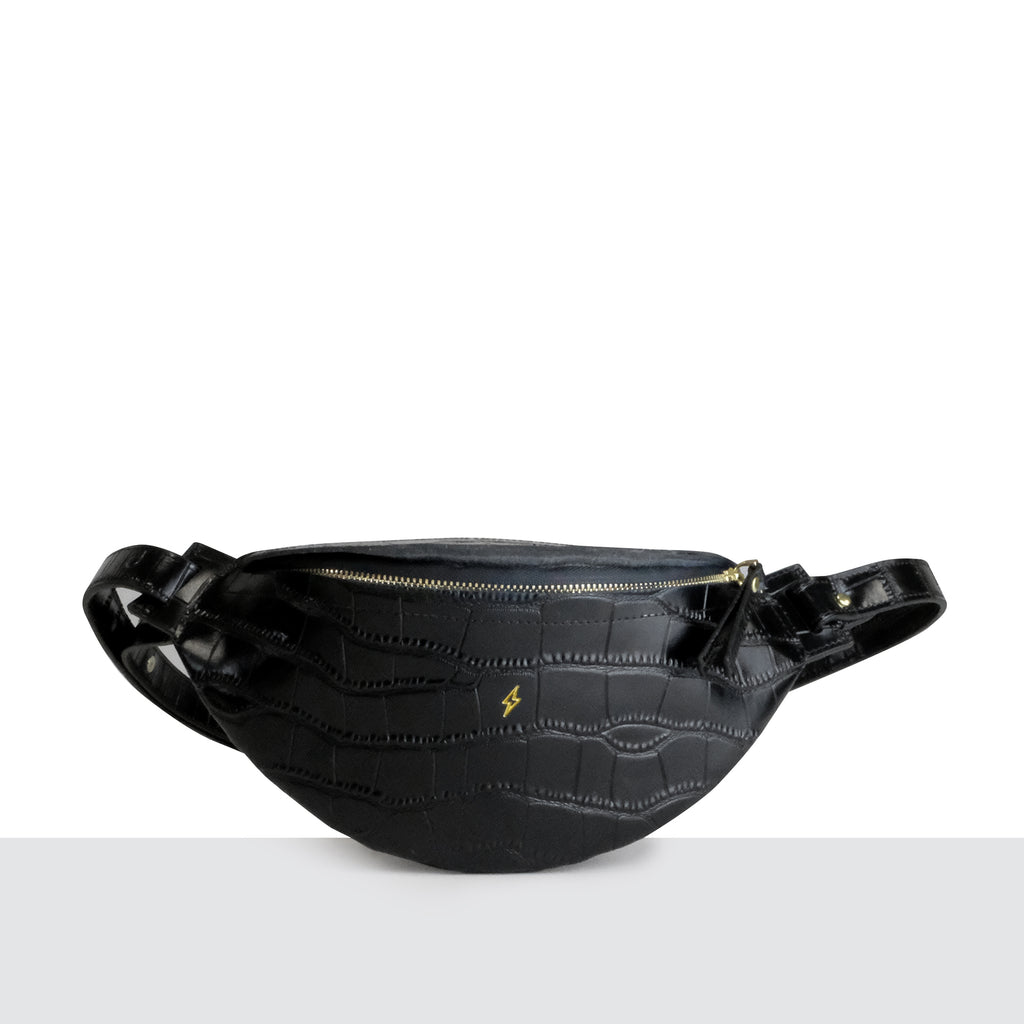 Barcelona Bumbag in Black Croc