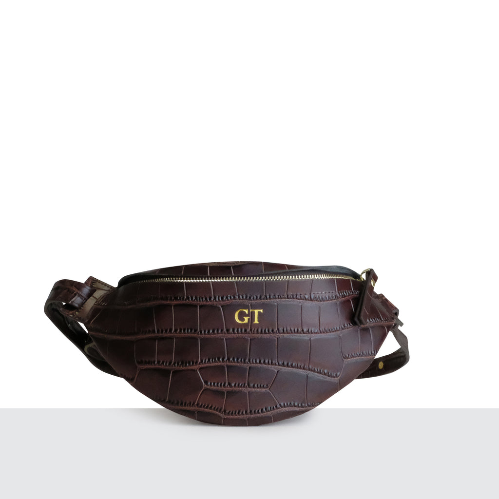Chocolate Brown Croc Bumbag