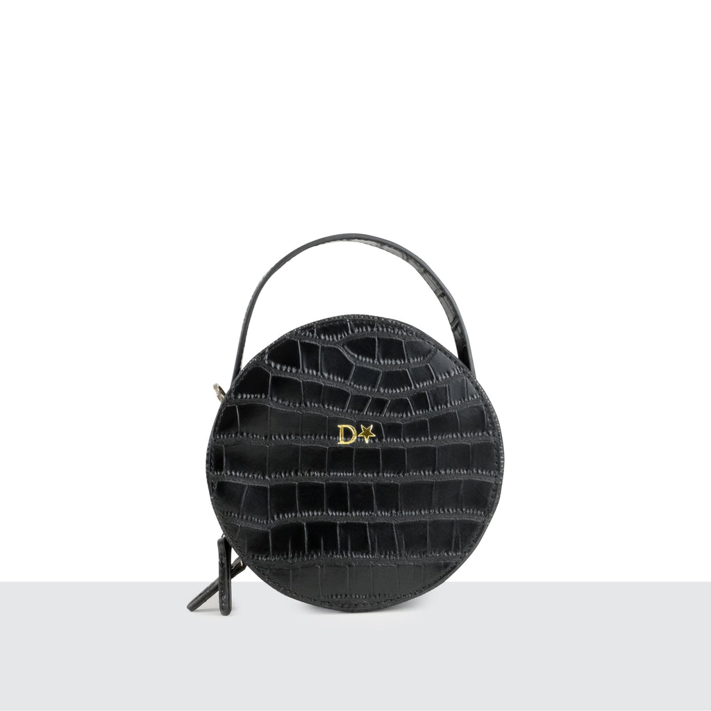 Black Croc Circle Box Cross Body Bag