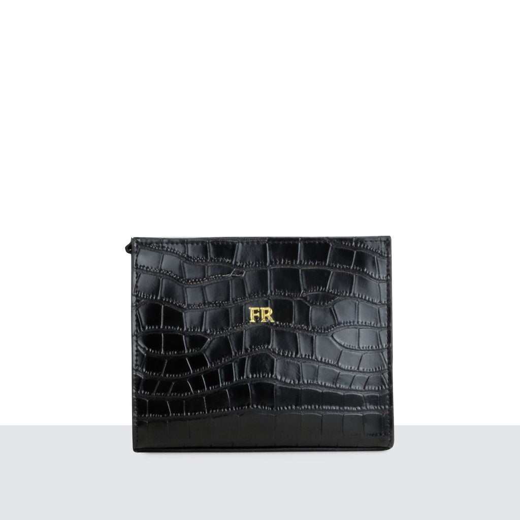 Black Croc Cosmetic Bag
