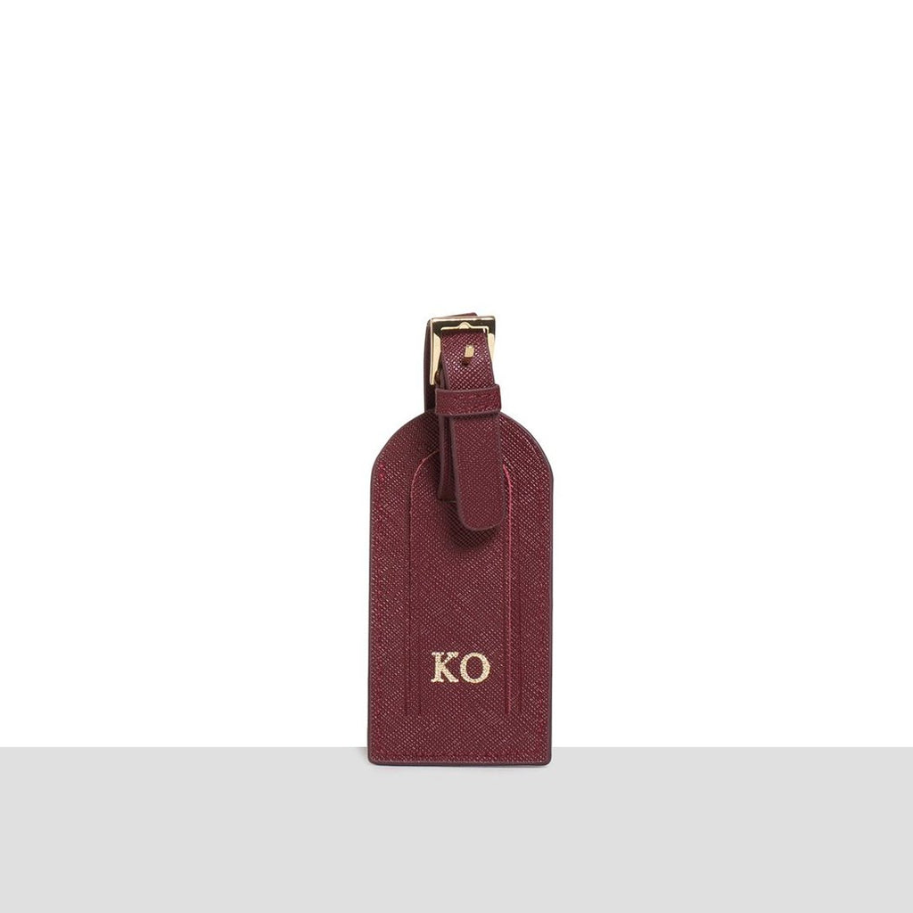 Wine Saffiano Luggage Tag